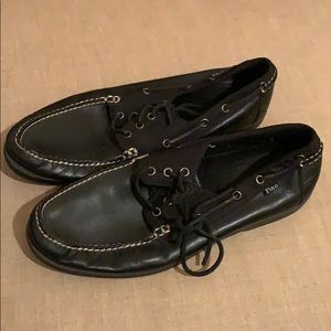 Black Leather Polo boat shoes